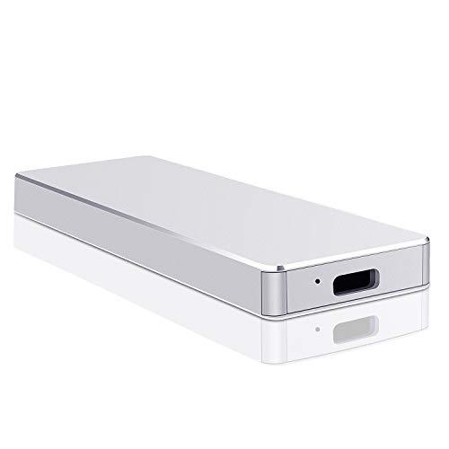 Disque dur externe USB 3.1 de type C 1 To pour PC, Mac, MacBook, Chromebook, ordinateur portable (1 To, Argent)
