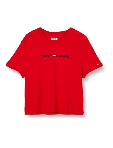 Tommy Jeans Tjw Modern Linear Logo tee Camiseta de Manga Corta, Rojo (Deep Crimson Xnl), XS para Mujer