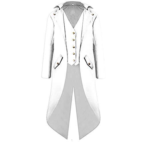 Heren jas Dasongff Frack Steampunk Gothic Gehrock Uniform Cosplay Kostuum Smoking Mantel Retro Victoriaans lange Uniform Jurk Plus Size mannen lange mouwen 4XL wit
