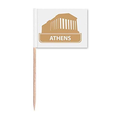 Athen Griechenland Gelb Wahrzeichen Muster Zahnstocher Flaggen Marker Topper Party Dekoration