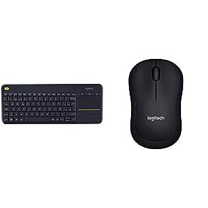 Logitech K400 Plus - Teclado inalámbrico para televisores conectados a PC, QWERTY español, Color Negro + M185, Ratón inalámbrico, Óptico, 2.4 GHz, USB, Negro