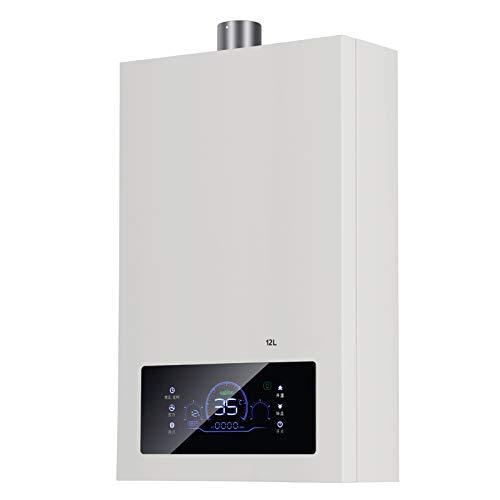 Stoge 12L Gaswarmwasserbereiter Haushalt Erdgas Konstanttemperatur Warmwasserkessel Badezimmer Warmwasserbereiter mit Duschkopf-Kit, 24 kW
