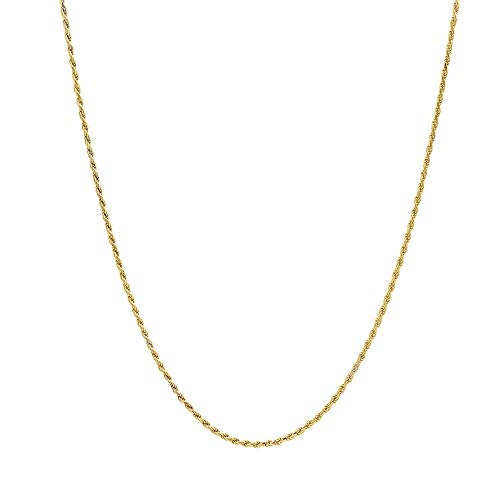 10K Gold 1.5MM Diamond Cut Rope Chain Necklace For Men and Women- Braided Twist Chain Necklace 10K Necklace Sizes 16-30 (18)