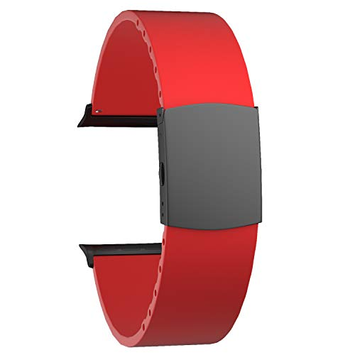SOUWILA Compatible con Silicona Correa Reloj 38 mm 40 mm 42 mm 44 mm iWatch Series 6/5/4/3/2/1 Caucho Correa Reloj con Acero Inoxidable Hebilla Desplegable (38mm, Red-Black)