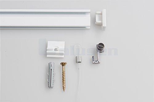 Bilderschienen, Galerieschienen Komplett-Set in weiß, 2m Länge und erweiterbar - Wandgestaltung mit Bildern und Fotos, Bilderhaken inklusive
