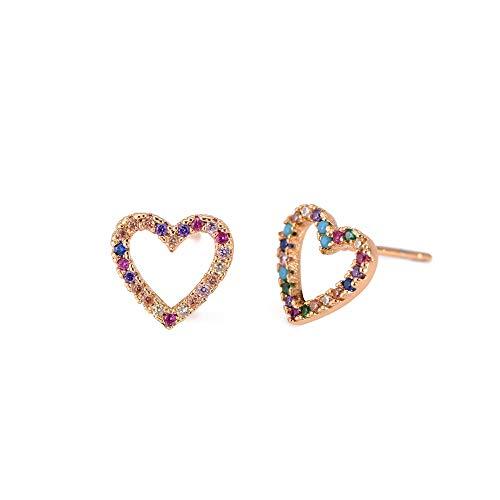 GSZPXF Tud Pendiente de Letras Pendientes Arco Iris del corazón del Oro for Las Mujeres (Color : ES002 1)