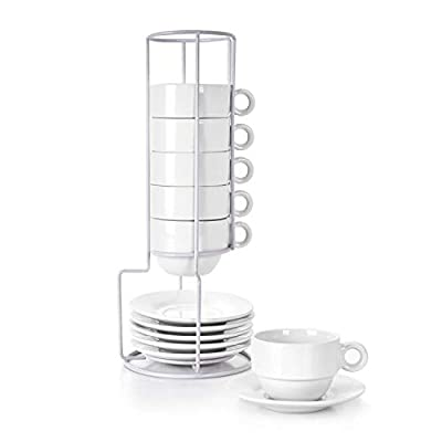 Porcelain Espresso Cups with Saucers and Metal Stand, 2.5 Ounce Stackable Ceramic Espresso Mugs, Demitasse Cups Set Designed for Espresso, Coffee, Latte, Cafe Mocha, 12 Pcs, Natural White