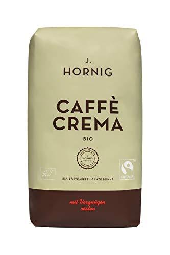 J. Hornig Kaffeebohnen Bio & Fair Trade, Caffè Crema Bio, 1000g, kräftig nussiges Aroma, perfekt für Espresso, Cappuccino und Mokka, ganze Bohnen