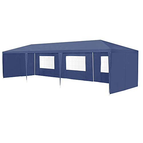 [casa.pro] Carpa Pabellón para Jardín 900 x 300 x 255cm Quiosco Gazebo Cenador de jardín Estructura de Metal Plegable Azul Oscuro