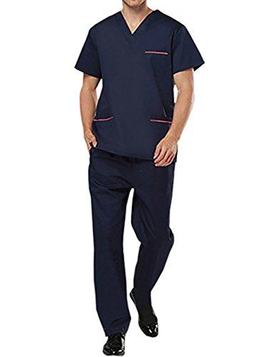 Feynman OP Oberteile und Hose Set Medizin Uniform Schlufpkasack und Schlupfhose Arzt Anzug