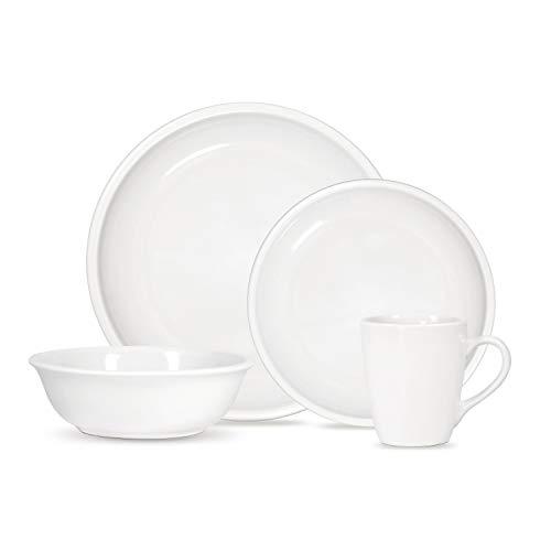 Mainstay Lara 16-Piece Round Stoneware Dinnerware Set (White)