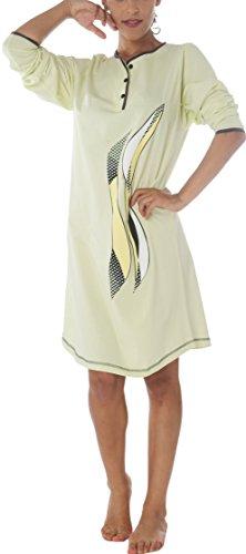Damen Langarm Nachthemd Baumwolle Knopfleiste Mint DW904 52/54