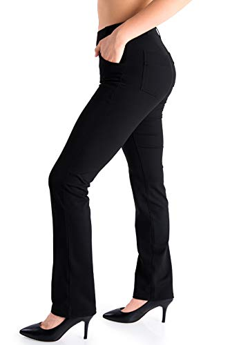 "Yogipace,4 Pockets/Belt Loops, Petite Women's Straight Leg Yoga Dress Pants Work Pants Slacks Office Commute Travel, 29"", Black, Size M"