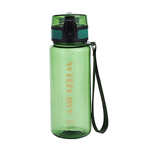 NYWENY Taza espacial de gran capacidad portátil botella de agua deportes al aire libre plástico fruta jugo taza adulto pareja gimnasio Copa senderismo viaje seguro PP+PC 500ml