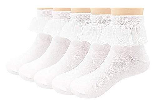 October Elf 5 Paia Calzini Bambini Calze Maglia Pizzo Bianco Ragazze Cotone Conforto Per Primavera Estate Autunno Calzini Neonato Neonati Morbido Traspirante Caldo Calza (Bianco A, M(3-6y))