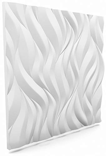 Nuevos Paneles Decorativos De Pared 3D - Tableros de Pared 3D - Revestimiento de Pared 3D - 600 x 600 mm - Flames - Blanco - Paquete 8 piezas / 2,88 m2