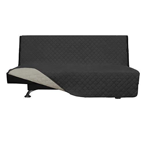 Easy-Going Funda de futón reversible para sofá futón, sin brazos, funda de futón, protector de muebles, resistente al agua, para mascotas, niños, perros, gatos, gris oscuro, beige