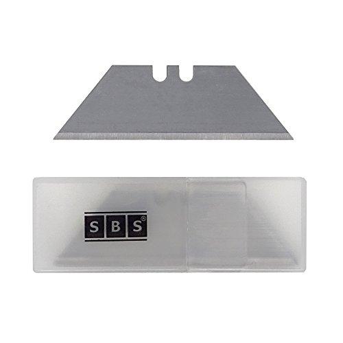 SBS Ersatzklingen für Teppichmesser Trapezform ohne Loch im praktischem Spender - 100 Stück