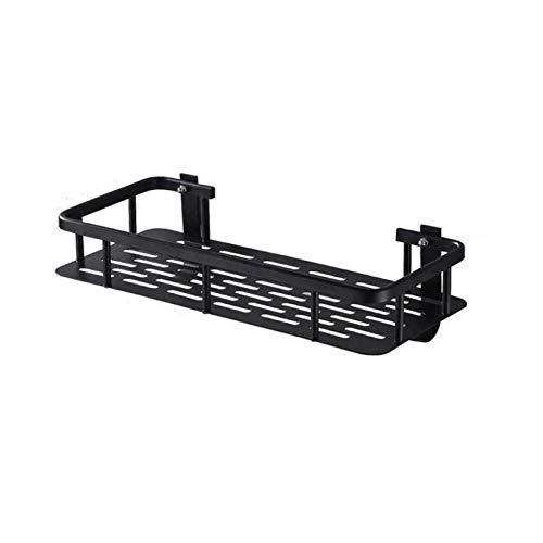 FDNFG Estantería Colgante Baño montado en la Pared Rectangular Shelf Black Ducha Caddy Space Estantes de Aluminio con Ganchos Organizador de champú