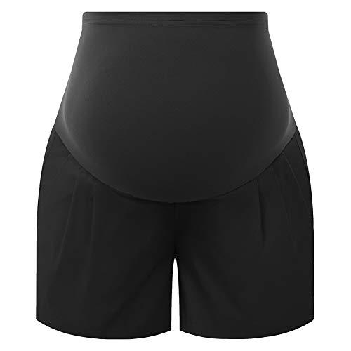 Maacie Premamá Pantalones Cortos de Deporte con Cintura Elástica para Mujer 2XL Negro