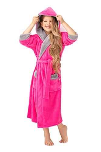 envie Kinderbademantel Morgenmantel mit Kapuze zweifarbig, Pink-grau, 158/164