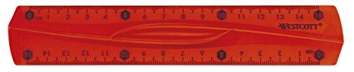 Westcott E-10220 00 Lineal Flexi, bruchsicher, transparent, 15 cm 3 Farben Sortiert