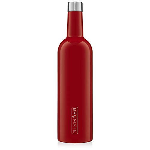 BrüMate Winesulator 25 Oz Triple-Walled Insulated Wine Canteen Made Of Stainless Steel, 24-hour Temperature Retention, Shatterproof, Comes With Matching Silicone Funnel (Cherry)