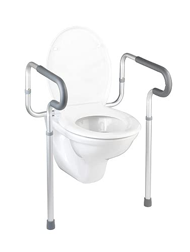 WENKO Barra de seguridad para el WC Secura, Aluminio, 55.5 x 71-82 x 48 cm, Aluminio
