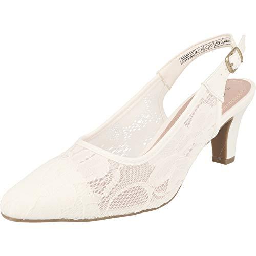 JANE KLAIN Damen Pumps Schuhe 296-184 Weiß Spritze mit Riemchen (37 EU)