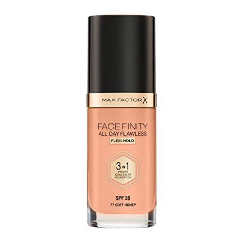 Max Factor FaceFinity 3 en 1 All Day Flawless Base de Maquillaje Tono 077 Soft Honey - 30 ml