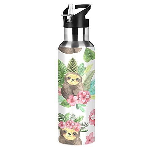 Hunihuni - Botella de agua deportiva con pajita y mango de acero inoxidable, sin BPA, mantiene el frío y caliente para deportes, senderismo, gimnasio, 20 onzas