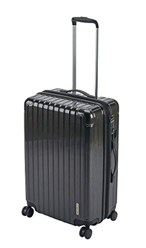 キャプテンスタッグ(CAPTAIN STAG) スーツケース キャリーケース キャリーバッグ 超軽量 TSAロック ダブルホイール 360度回転 静音 ダブルファスナータイプ Mサイズ ブラック パルティール UV-65