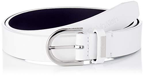 Calvin Klein Round Belt 25MM Cintura, CK Bianco, 75 cm Donna