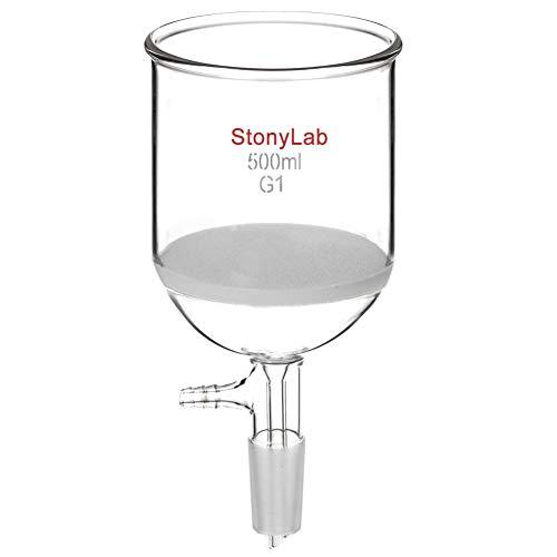 StonyLabBorosilicateGlassBuchnerFilteringFunnelwithCoarseFrit(G1),94mmInner-Diameter,100mmDepth,with24/40StandardTaperInnerJointandVacuumSerratedTubulation(500ml)