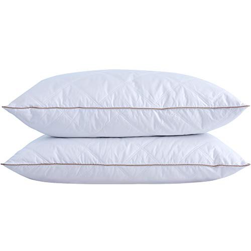 puredown Natural Goose Down Feather Pillows for Sleeping with 100% Cotton Pillow Downproof Cover White Set of 2 Standard Size