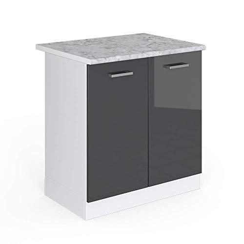 Vicco Küchenschrank R-Line Küchenzeile Hängeschrank Unterschrank Küchenschränke Küchenunterschrank Arbeitsplatte (anthrazit mit Arbeitsplatte, Spülenunterschrank 80 cm)