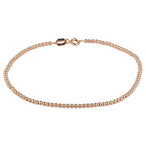 Gioiello Italiano - Enkelvoudig gestrande armband met 14kt gouden bolletjes, lengte 18,5cm, drie kleuren, vrouwen, 18,5cm lang