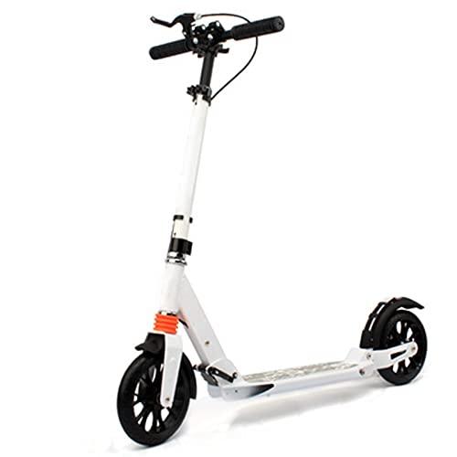 XXXD Scooter simple para adultos, scooter plegable portátil para viajes diarios y viajes cortos de elevación de dos ruedas color blanco