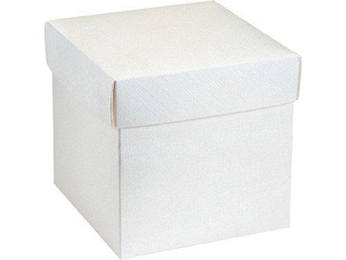 Unbekannt 10 Stück Kartonage Würfel mit Deckel Seta weiß, 12 x 12 x 12 cm, Gastgeschenk Geschenkverpackung Hochzeit Weihnachten Taufe