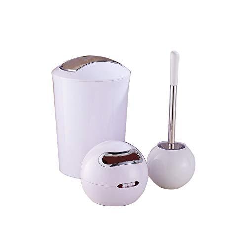 NYKK Escobilla WC Cepillo de Limpieza Durable del Sistema de Cepillo Europeo del retrete de la Moda Simple del Cuarto de baño del hogar Escobillas de Baño (Color : White)
