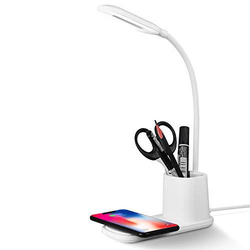 Lampara Escritorio, Flexo Led Escritorio con Cargador Inalámbrico, Regulable con Rotación de 360 ° para, 3 Modos de Color, Batería USB de Ahorro de Energía (Blanco-new)