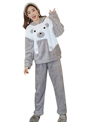 Minetom Damen Mädchen Herbst Winter Pyjama Schlafanzug Set Flanell Zweiteiliger Langarm Nachtwäsche Süßes Tier Kaninchen Warm Plüsch Kapuzenpullover und Hosen C Grau 44