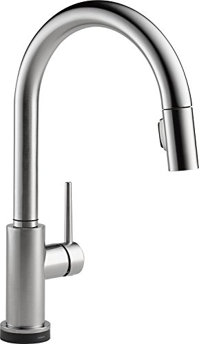 Delta Faucet Trinsic VoiceIQ Single-Handle Touch Kitchen Sink Faucet with Pull Down Sprayer, Alexa and Google Assistant Voice Activated, Smart Home, Arctic Stainless 9159TV-AR-DST