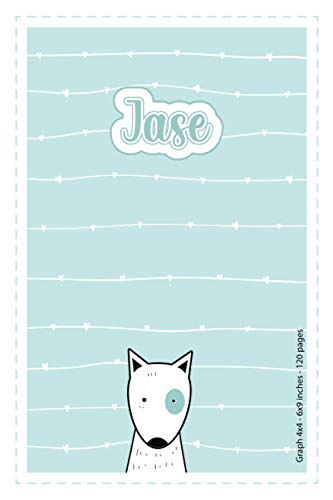 Jase: Personalized Name Squared Paper Notebook Light Blue Dog   6x9 inches   120 pages: Notebook for drawing, writing notes, journaling, doodling, ... writing, school notes, and capturing ideas