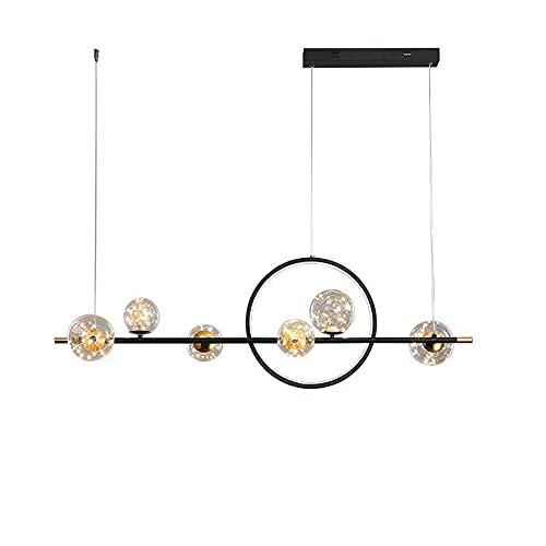 JHYPVII Lámpara Colgante Comedor LED Negro Colgante De Luz Línea Moderno Regulable con Control Remoto Luces Colgante Lámparas De Araña Vidrio Esférico Altura Ajustable