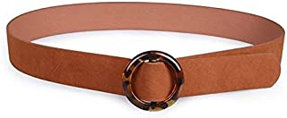 SGJFZD Resin Buckle Black Brown Suede Wild Fashionable Belt Women's Round Buckle Belt (Color : Brown, Size : 100cm)
