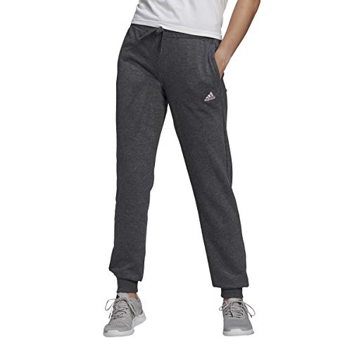 adidas Essentials French Terry Logo Pantalones de chándal, Oscuro Gris Melange/Color Rosa Claro, L para Mujer