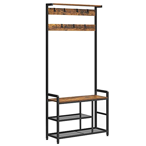 VASAGLE Entryway bench with coat rack, Hall Tree with Storage Bench and 7 Hooks, Storage Shelves, Industrial, for Living Room, Bedroom, Rustic Brown and Black, 33.1 x 11.8 x 71.7 Inch UHSR088B01