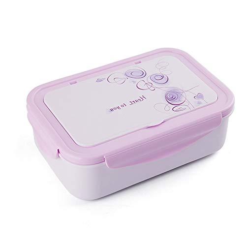 JIASHA Onchera,Infantil Lunch Box,Almuerzo de Plástico Caja de Bento,1400ml de Almuerzo a Prueba de Fugas para Bento Box con 3 Compartimentos y Cubiertos, para Microondas y Lavavajillas (púrpura)