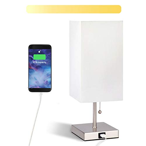 USB Bedside Table Lamp, COOLWEST Modern Table & Desk Lamp with Dual USB Charging Port, 3 Level Brightness Dimmable Nightstand Lamp Perfect for Bedroom, Living Room or Office(E27 LED Bulb Included)